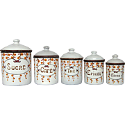 Set of French Enamel Graniteware Canisters - Art Deco Floral Design
