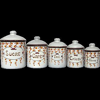 Set of French Enamel Graniteware Canisters - Art Deco Floral Design