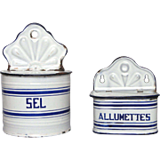 Vintage Matching Enamel Graniteware Salt & Match Keep Boxes