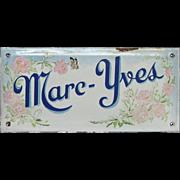 Antique French Enamel House Plaque - Graniteware Sign