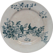 Late 1800s French Transferware Porcelain Raised Dessert Serving Dish - Birds and Raspberries