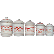 French Enamel Graniteware Canister Set with Red Check Design -early 1900s