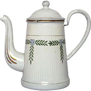 Early 1900s French Enamel Graniteware Coffee Pot