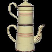 Antique Enamel Graniteware French Drip Coffee Pot Biggin -Pink Bands