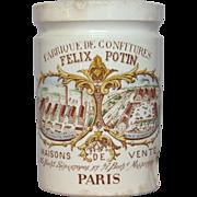 Polychrome French Ceramic Jam Jar - Felix Potin Confiture