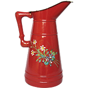 Antique Red Enamel Hand-Painted Floral Body Pitcher - Late 1800s