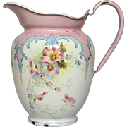 Magnificent Floral Hand-painted French Enamel Graniteware Pitcher