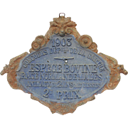 Heavy Metal French Agricultural Award Plaque - 1904 - Unusually Elaborate Design