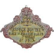 French Heavy Metal Agricultural Award Plaque for Cows - 1904