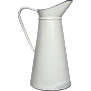 NEAR-MINT French Graniteware Pure White Enamel Extra Tall Pitcher