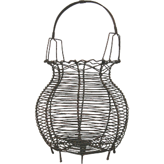French Wire Ware Egg Gathering Basket -early 1900s