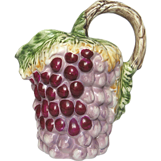 Vintage French Grape Cluster Majolica Pitcher - Gerber Prestige 1945
