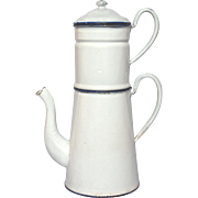 French Classic White Enamel Graniteware Drip-Coffee Pot Biggin