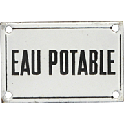 Vintage French Porcelaine Enamel Drinkable Water Sign / Plaque / Plate