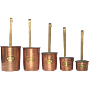 Set of Vintage French Copper Measuring Cups