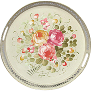 Large Round French Floral Tole - Toleware Serving Tray