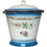 Near-Mint 1800s French Enamel Graniteware Bucket / Pail / Pot - Floral Decor