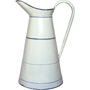 French Enamel Graniteware Extra-Large Body Pitcher - Fabulous Condition
