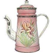 1800s Pink Shaded French Enamel Floral Drip Coffee Pot Biggin