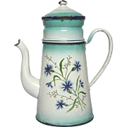 French JAPY Floral Enamel Graniteware Drip Coffee Pot Biggin