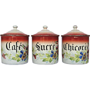 Hand-Painted Floral JAPY French Enamelware Canisters
