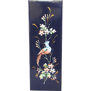Antique French Hand Painted Enamel Plaque