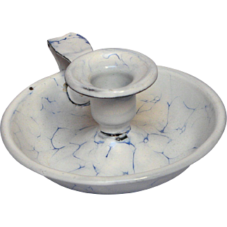 Snow on the Mountain Enamel  Graniteware Candle Holder / Chamber Stick