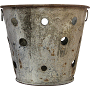 Weathered Zinc Perforated Pail / Bucket from France