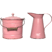 VERY Vintage French Toy  Pink Tin Bucket and Pitcher