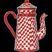 Red & White DROOPY Check Enamel Graniteware Drip Coffee Pot Biggin