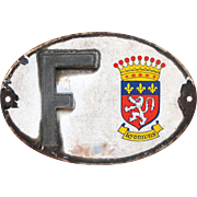 Enamel French Car Plate -European Identity Plaque