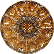 French Majolica Oyster Serving Presentation Platter - Sarreguemines