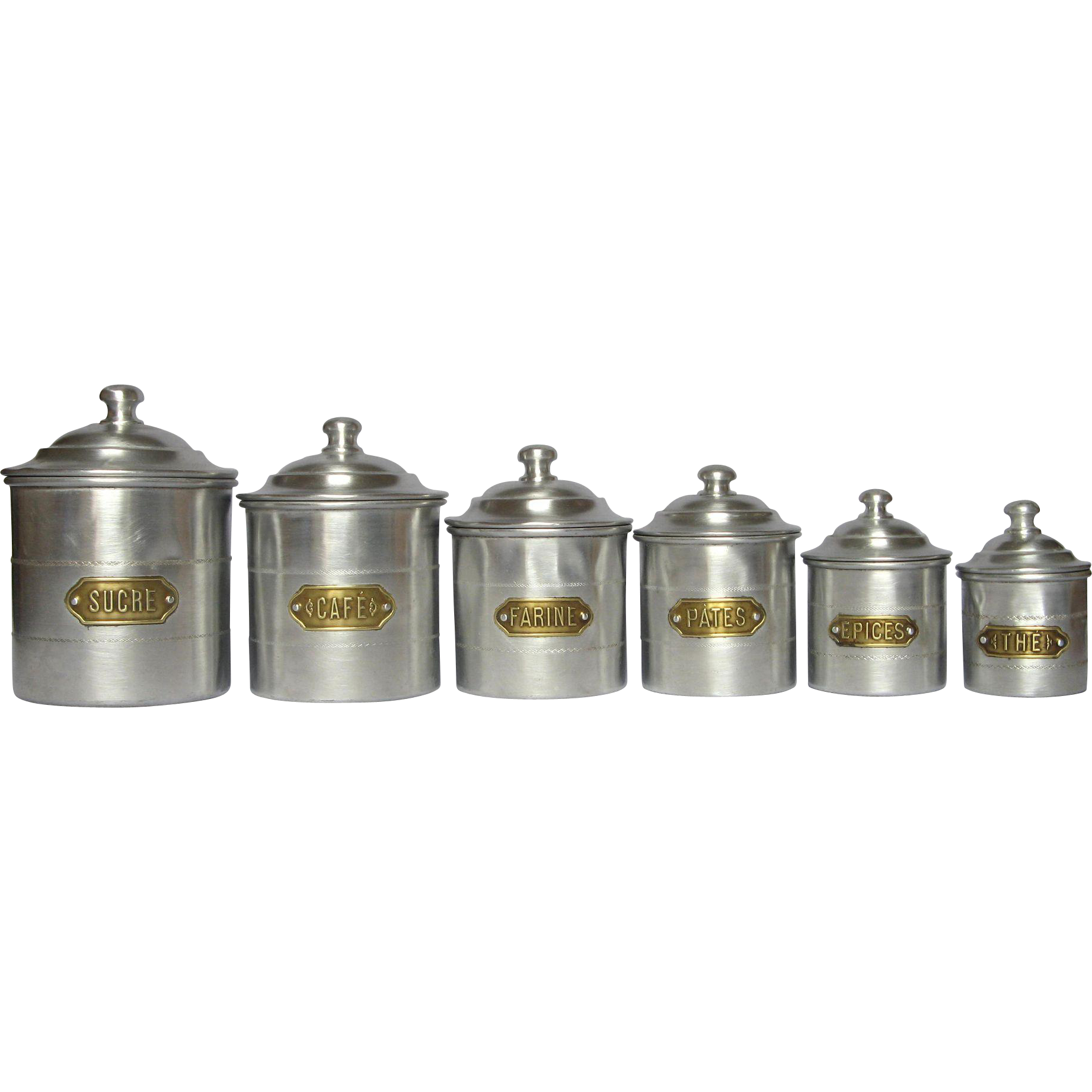 complete set of six french aluminum kitchen canisters from