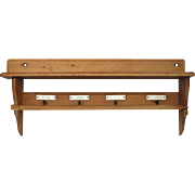 Mid-Century Wooden Shelf and Towel Rack from France