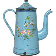 Hand-Painted Enamel Graniteware Coffee Pot - Bird & Butterflies