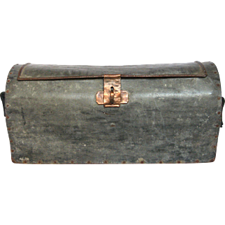 Old French Tool Box / Tool Caddy Made of Zinc with Copper Closures