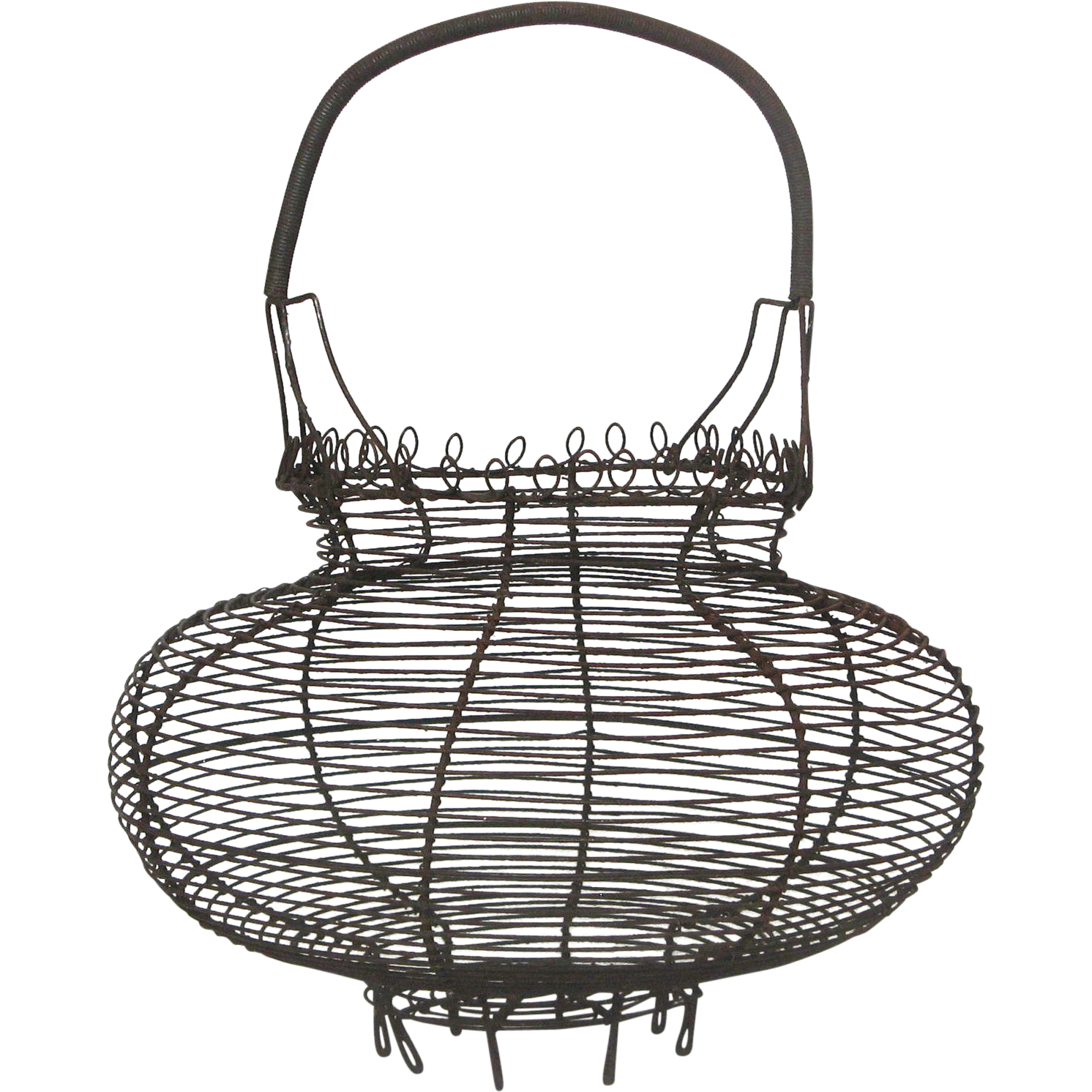 early 1900s french wire egg gathering basket