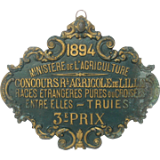 French 1894 Agricultural Award Metal Plaque - Pig / Porcine Competition