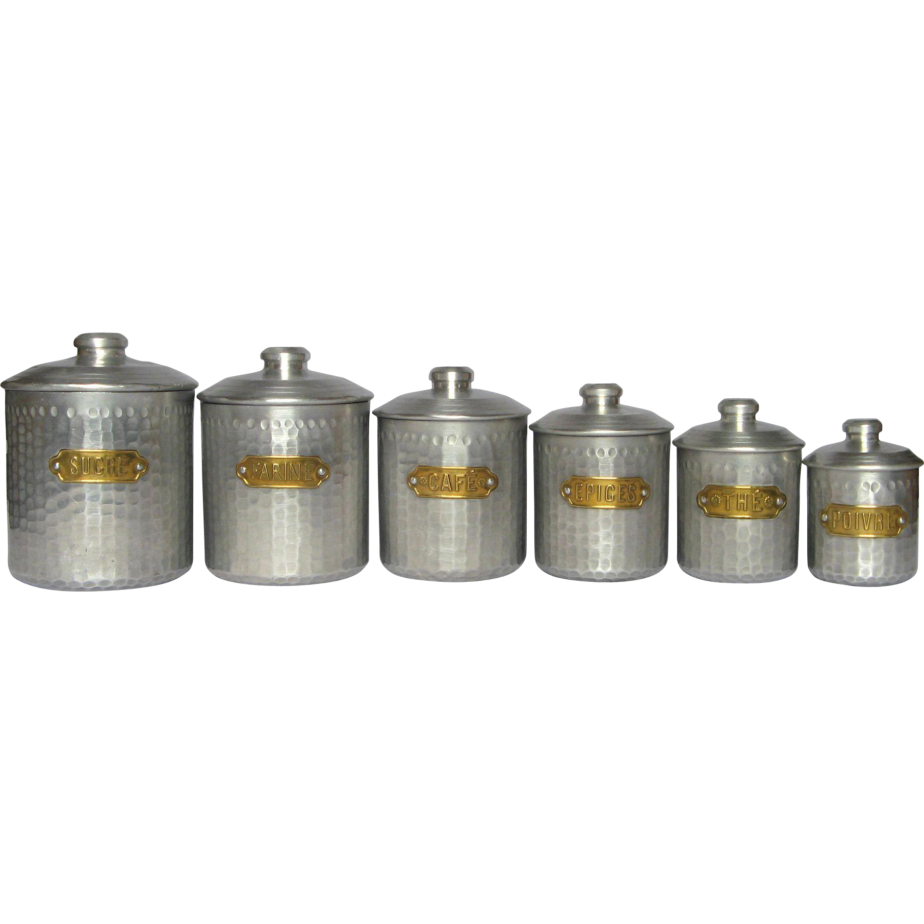 Set of dimpled french aluminum vintage kitchen canisters for Kitchen set aluminium