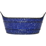 FINAL Reduction - French Enamel Graniteware Tub - Basin - Jardiniere