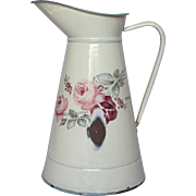 French Enamel Graniteware Extra-Large Floral Body Pitcher - JAPY