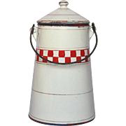 Vintage French Enamel Graniteware Milk Carrier - Red Check Decor