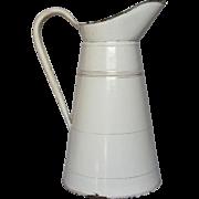 French Enamel Graniteware Pitcher - Body Pitcher Classic White