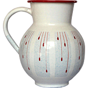 RARE Pattern - Vintage French Enamel Graniteware Pitcher