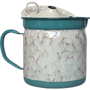 Rare Turquoise and Red Feather Enamel Graniteware Milk Warmer - Near MINT