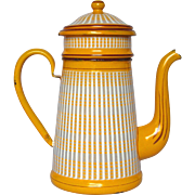 French Graniteware Drip Coffee Pot Biggin - Bright YELLOW Enamel