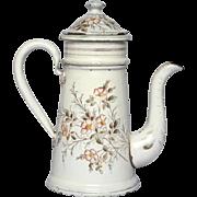 PETITE French Floral Enamel Graniteware Coffee Pot - early 1900s