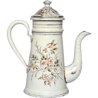 PETITE French Floral Enamel Graniteware Coffee Pot - early 1900s