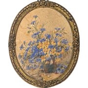 19th Century Floral Painting by French Artist Louppe in Brass Frame