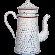 French Enamel Drip Coffee Pot Biggin - Chicken Wire Pattern